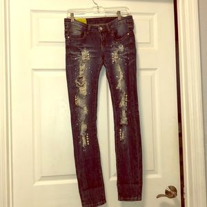 Machine Pearl Shreaded Bling Crystal Jeans
